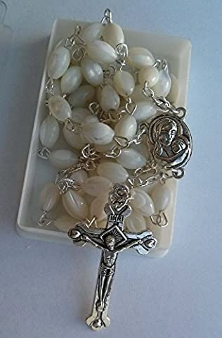 Mother of Pearl Rosary Cross with Mary Medal and Holy Soil From Jerusalem by Nazareth Market Store