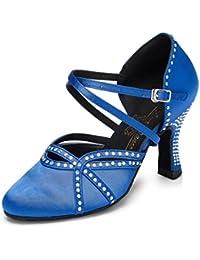 Meijili Women's Rhinestone Evening Wedding Pumps Salsa Tango Ballroom Latin Dance Shoes Blue UK 3