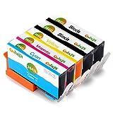 Gohepi 364XL Kompatibel für Tintenpatronen HP 364XL 364 HP Photosmart 5520 6520 5510 7520 5524 7510 6510 5515 5514 5511 5522 B010 B109a B110, HP Photosmart Premium C309 C310 C410 C410b B8550 B8850, HP Officejet 4620 4622 4610, HP Deskjet 3070A 3520 3521 3522 3524 - 2 Schwarz/Blau/Rot/Gelb 5er-Pack