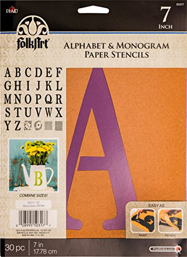 Plaid Pla50317 Pochoir Folk-art papier lettres de l'alphabet et Monogramme Serif, 17,8 cm