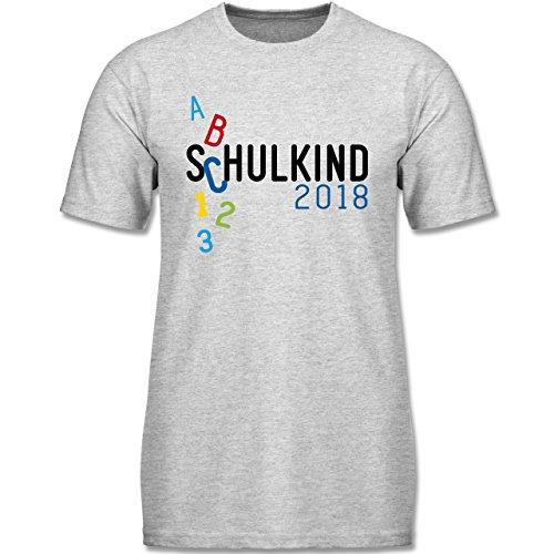 Einschulung - Schulkind 2018 ABC Bunt - 128 (7-8 Jahre) - Grau Meliert - F140K - Jungen T-Shirt (Shirts Abc)