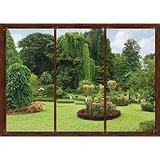 AG Design FTS 1314  Garten Fenster, Papier Fototapete - 360x254 cm - 4 teile, Papier, multicolor, 0,1 x 360 x 254 cm