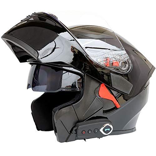 TKer Casque de Moto intégré Bluetooth, Modulaire Double visière Casques de Moto Cross pour Les Hommes et Les Femmes Adultes, ECE Certification,Noir,XL
