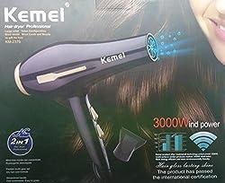 Kemei KM-2376 3000W Powerful Professional Heavy Duty Hair Dryer for Unisex (Black)