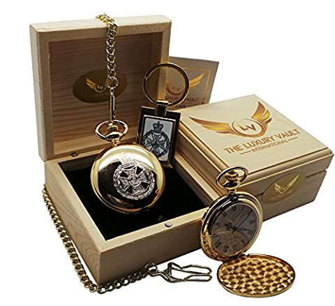 Royal Green Jackets Pocket Watch and Keyring Gift Set Real 24 Carat Gold Plated Army Military Crest Luxury Gift in Case RGJ Crested Emblem