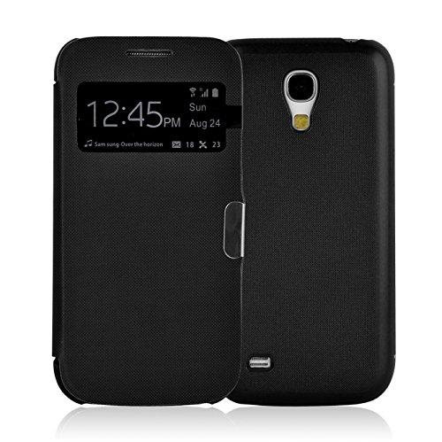 Coque Galaxy S4 Mini | JAMMYLIZARD | Housse Flip Etui Avec Fenêtre D'ouverture pour Samsung Galaxy S4 Mini, Noir