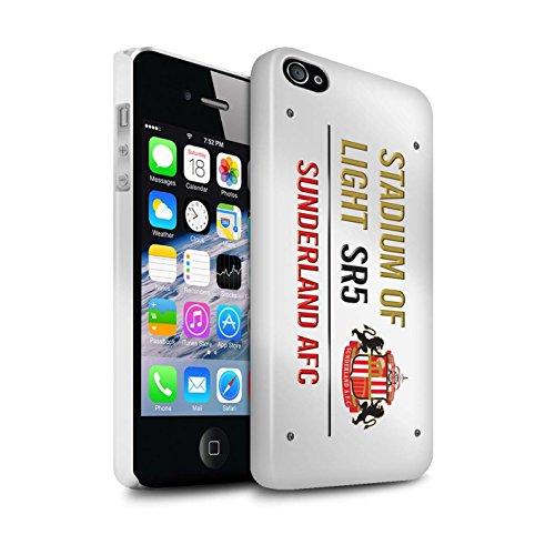 Offiziell Sunderland AFC Hülle / Glanz Snap-On Case für Apple iPhone 4/4S / Pack 6pcs Muster / SAFC Stadium of Light Zeichen Kollektion Weiß/Gold