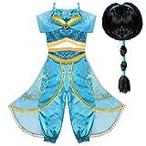 Tacobear Jasmin Kostüm Kinder mit Perücke Prinzessin Jasmin Kleid für Mädchen Karneval Verkleidung Halloween Party Prinzessin Cosplay Kostüme (4-5 Jahre)