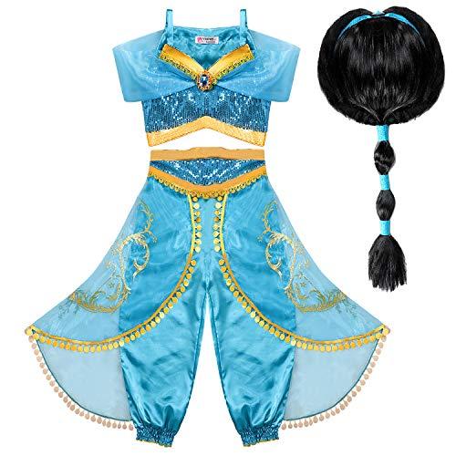 Tacobear Deguisement Jasmine Fille avec Perruque Princesse Jasmine Robe Jasmine Costume pour Fille Carnaval Halloween Fête Cosplay (9-10 ans)