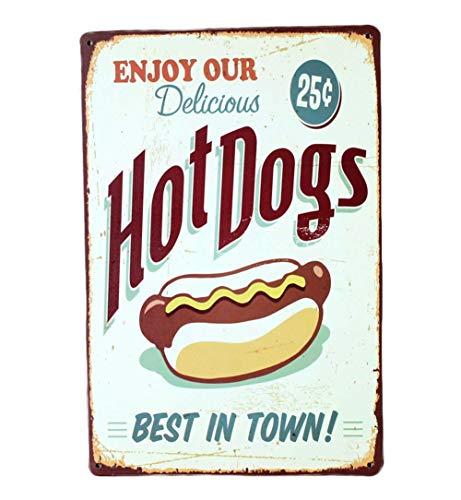 Doitsa Retro Zinn Malerei Kuchen Dim Sum Hamburger Hot Dog Bar/Wohnzimmer/Küche/Backformen dekorative Wandmalereien 20 * 30cm Stil 4 (Hot-dog-malerei)