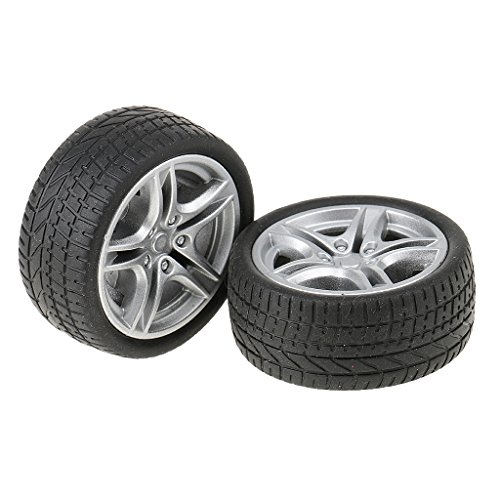 Segolike 2 Pieces 48mm Toy Wheels Flat Drift Tyres DIY Car Spare Parts for Model Making  available at amazon for Rs.150