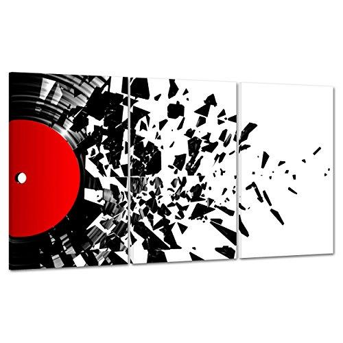 QUADRO SU TELA CANVAS - INTELAIATO - PRONTO DA APPENDERE - Vinile - Disco Arte Moderna - 100x50cm (cod.2811)