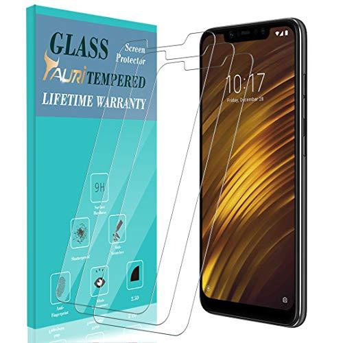 TAURI [3 Stück Schutzfolie für Xiaomi Pocophone F1 Panzerglas, [9H Härte] [Einfache Installation] [Lebenslanger Ersatz Garantie], Panzerglasfolie HD Klar Glas Bildschirmschutzfolie für Xiaomi F1