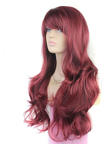 Mode Wigstyle Europe et aux États-Unis les nouveaux MS Vin Rouge incliné Bang Perruque de cheveux bouclés