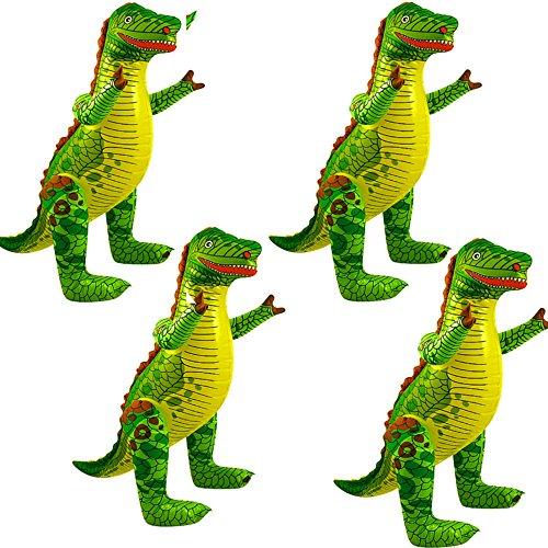 German-Trendseller ® - 4 x Aufblasbarer Dinosaurier XXL ┃ T-REX ┃ 78 cm ┃ Kindergeburtstag ┃ Party Dekoration