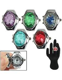 SUNSKY Mini diseño de anillo de dedo reloj de cuarzo con joya cubierta y banda elástica