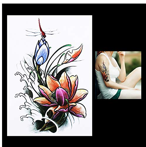 Dragonfly Kostüm Mann - Tattoo Aufkleber Women Men Body Art Temporary Tattoo Dragonfly Lotus Flower Style Design Sleeve Tattoo Sticker Birthday'S Day Gifts 14.8 * 21Cm 4Pcs
