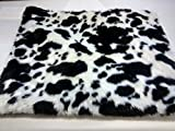 KosiPet® Black/White Faux Fur Self heating Thermal Luxury Pet Dog Cat Bed Mat With Fibre Pad (Large)