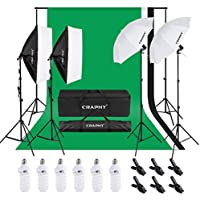 CRAPHY Kit de Iluminación Profesional 2 Ventanas de Luz (Softbox), 2 Paraguas para Estudio de Fotografía, 3 Fondo (Blanco, Negro, Verde) 1.8m x 2.8m con Soporte, 1 Bolsa de Transporte