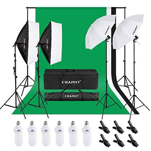CRAPHY Kit de Iluminación Profesional con Softbox y Paraguas, 6X 45W para Estudio de fotografía y vídeo, Fondo con Soporte (Blanco, Negro y Verde) 3m x 2.6m con Bolsa de Transporte