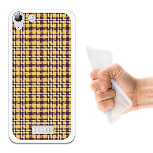 WoowCase Wiko Selfy 4G Hülle, Handyhülle Silikon für [ Wiko Selfy 4G ] Violette schottenkaro Linien materiell Handytasche Handy Cover Case Schutzhülle Flexible TPU - Transparent