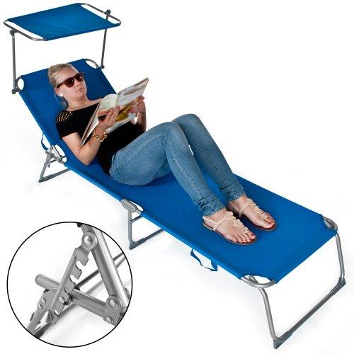 TecTake Gartenliege Sonnenliege Strandliege Freizeitliege mit Sonnendach 190cm -diverse Farben- (Blau) - 4