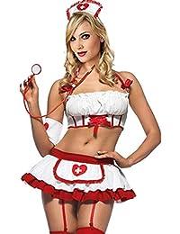 Nachtkleid Damenkostüme Krankenschwester Nurse Kostüm Dessous Reizwäsche Lingerie Nachtkleid chulmädchen Schoolgirl Kostüm Uniform Neckholder Bodydoll Minikleid