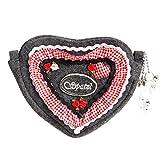 Almbock Trachten-Tasche Spatzl- kleine Dirndl-Tasche in Herz-Form in grau, rot, weiß, bestickt mit Rosen, aus Filz, für Oktoberfest oder Hochzeit