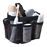 Shower Caddy Tote Quick Dry Bathroom Tote Bag 8 Compartment Bathroom Hanging Bag Double Handles Shower Tote Bag for Shampoo, Conditioner and Other Bathroom Accessories Hanging Black Toiletry Bag