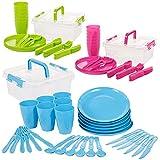 Invero 93 Piezas Reutilizable plástico Picnic Camping Party Set – Incluye Platos, cucharas, Cuchillos, Folks, Tazas y contenedor de Almacenamiento para Todos