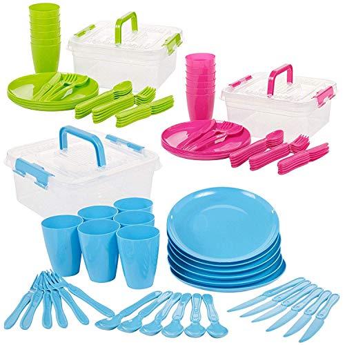 Invero® 93 Piezas Reutilizable plástico Picnic Camping Party Set - Incluye Platos, cucharas, Cuchillos, Folks, Tazas y contenedor de Almacenamiento para Todos