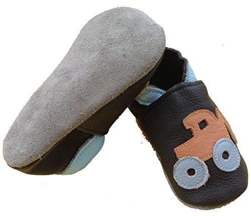 coolMYP©chromfreie Krabbelschuhe Baby Schuhe Lederschuhe ohne Chrom Lernlaufschuhe mit verschiedenen Motiven Schwarz-Trecker