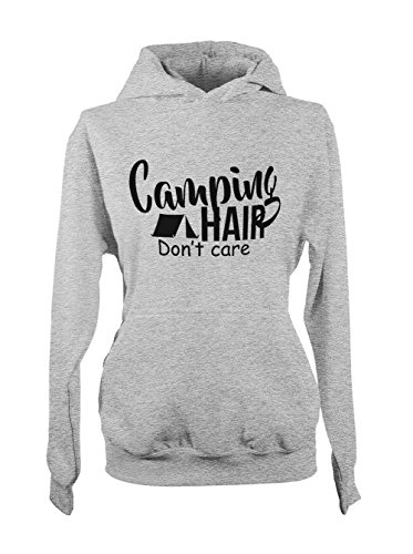 Camping Hair Don't Care Relax Cool Vacation Femme Capuche Sweatshirt Gris