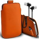 ( Orange ) Nokia 220 Schutzkunstleder Pull Tab stilvolle Einbau Beutel Case Hülle & Premium Qualität Aluminium In-Ear-Ohrhörer Stereo-Kopfhörer-Kopfhörer Hands Free-Headset mit Mikrofon Mic & On-Off-Taste nach Baujahr Spyrox