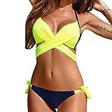 Internet Sexy Damen Bikini Set Kreuz Criss Polsterbinde Zweiteilige Push-Up BH Neckholder Tops Bademode Tauchen Sport Badeanzug (Gelb, M)