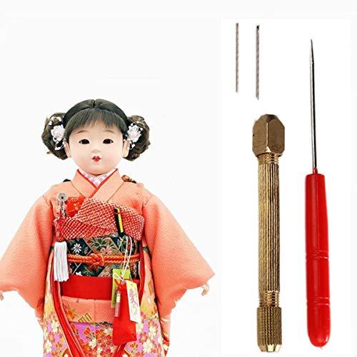 HavanaYZ 1 Set DIY Puppenhaar-Müllung Set 0,6/0,8 mm Puppenhaar Wurzelwurzeln Reroot Rehair Werkzeug Halter mit extra Nadeln Reproduzieren Haarpuppe Werkzeug