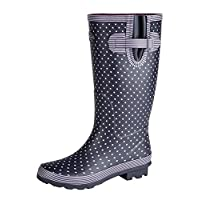 Womens WIDE FIT LEG Wellington Wellies Long Boots Navy Polka Dot Print 4 - 9