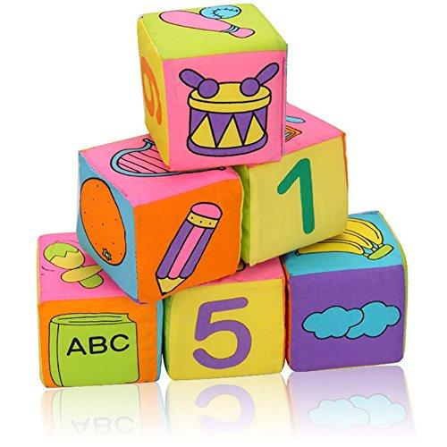 Balai 6er-Pack Neuer Kleinkind-Baby Weiche Rattle Bausteine Lernspielzeug Baby-Spielzeug Weich Blocks Set Cube Cloth (Für Kleinkinder Beliebtes Ein Spielzeug)
