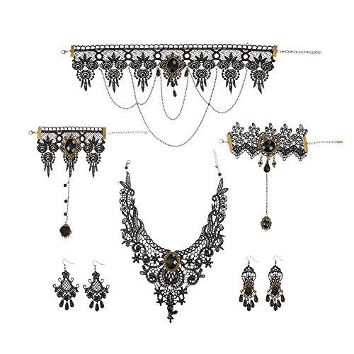Schwarz Spitze Gotisch Choker Vintage Anhänger Choker Halskette Ohrringe Armband Set