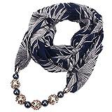 Xuniu Sciarpa delle Donne, Pendente della Collana dei monili del Pendente della Collana Chiffona della Sciarpa della Stampa Floreale delle Donne Hijab Molle Blu Navy + Bianco