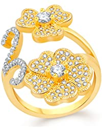 VK Jewels Stone In Flower Gold And Rhodium Plated Alloy CZ American Diamond Adjustable Ring For Women [VKFR2714G]