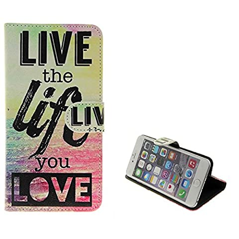 360° Wallet Case Schutz Hülle für Leagoo, Haier, Uhans, Blackview, Cubot, UHAPPY, TIMMY, Samsung, Huawei, LG Electronics, Sony, OnePlus , 'live the life you love' | Smarpthone Flip cover Flipstyle Tasche - K-S-Trade (TM)