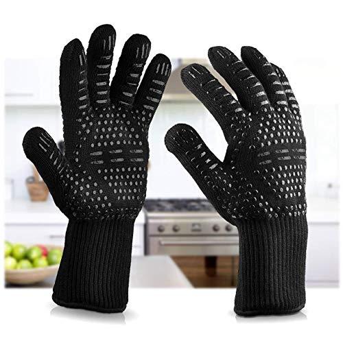 MRXUE BBQ Grillhandschuhe Frau Mann Hitzebeständig Bis Zu 932 °F, Unterarmschutz, Kochen Groß, Backen, Feuerstelle Küchenzubehör (1 Paar) Schwarz