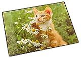 Läufer 46636 Schreibtischunterlage mit Motiv Katze mit Blume, 40x53 cm, rutschfeste Schreibunterlage mit transparenter Seitentasche