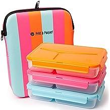 Pret a Paquet Fiambrera para alimento con aislamiento térmico y a Prueba de fugas JUEGO DE 3: Rosa - Azul - Naranja