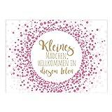 Große XXL Design Glückwunsch-Karte zur Geburt mit Umschlag/A4/Rosa Konfetti mit moderner Schrift, Mädchen/Baby geboren/Grußkarte zur Gratulation Eltern