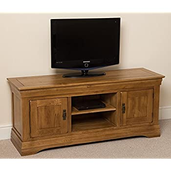 OAK FURNITURE KING French Rustic Solid Oak Widescreen Tv Cabinet Unit DvD Hi Fi Entertainment Stand 140 L X 43 D 61 H Cm