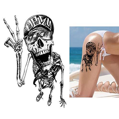 Yyydl adesivo tatuaggio tatuaggio temporaneo del braccio del fiore cheprende uno scheletro umano stile del tatuaggio autoadesivo del tatuaggio di arte del corpo non tossico sweatproof 4pcs
