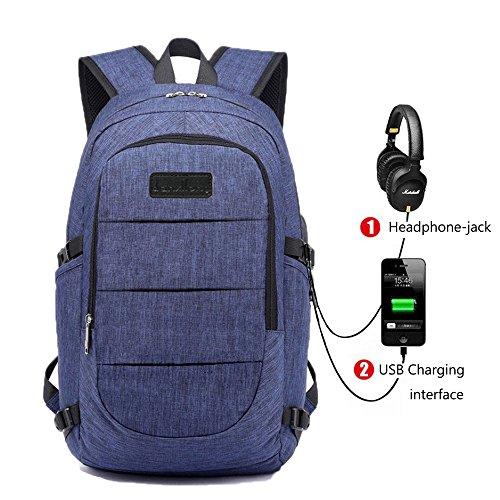 Zaino da Computer Portatile zaino da Viaggio Business School con Portabile con USB Port e Cuffia Jack Zaino Impermeabile Zaino del Computer Portatile si Adatta a 16 Pollici (Blu - A) Blu - A