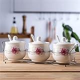 ANGEELEE-3 Küche Glas feuchtigkeitsdichten Glas Hause Mehrzweck MarmeladeFlasche Menage Keramik Gewürzglas mit Hause Kombination, Dunkle Weihrauch